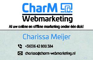 Visitekaartje CharM Webmarketing voorkant