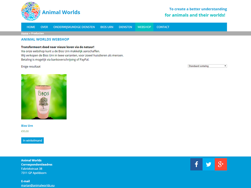 screenshot Animal Worlds webshop